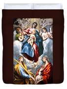 El Greco's Madonna And Child With Saint Martina And Saint Agnes Duvet Cover