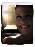Elated Bride Sitting In The Wedding Car  Duvet Cover