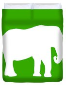 Elephant In Green And White Duvet Cover