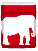 Elephant In Red And White Duvet Cover