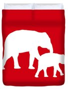 Elephants In Red And White Duvet Cover