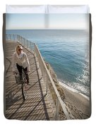 Elevated Perspective Of Woman Riding Duvet Cover