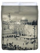 Elevated View Of The Western Wall Duvet Cover