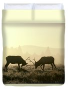 Elks Sparring Yellowstone Np Wyoming Duvet Cover