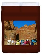 Entering Mile-long And 600 Foot High Gorge Leading To Treasury In Petra-jordan  Duvet Cover