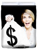 Euphoric Business Woman Holding Unexpected Windfall Duvet Cover