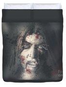 Evil Dead Vampire Woman Looking In Bloody Window Duvet Cover