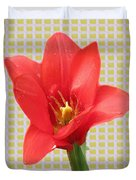 Exotic Red Tulip In Bold And Two Border Patterns Tiny Sparkle Parallal Horizontal Strips Summer Flow Duvet Cover