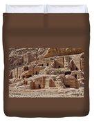 facade street in Nabataean ancient town Petra Duvet Cover by Juergen Ritterbach