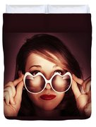 Face Of Cool Fashion Woman In Retro Summer Love Duvet Cover