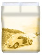 Faded Film Surfing Memories Duvet Cover