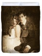 Faded Vintage Wedding Photograph Duvet Cover