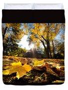 Fall Autumn Park. Falling Leaves Duvet Cover