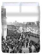 Fans Leaving Yankee Stadium. Duvet Cover