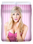 Fantastic Blond Pinup Girl With Surprised Look Duvet Cover