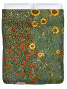 Farm Garden With Sunflowers Duvet Cover