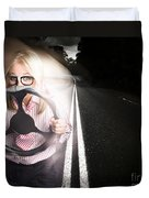 Fast Business Woman Driving Car With Light Trails Duvet Cover
