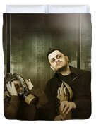 Father And Son In Gasmask. Nuclear Terror Attack Duvet Cover