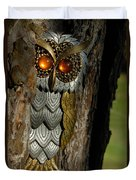 Faux Owl With Golden Eyes Duvet Cover