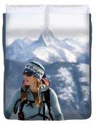 Female Backcountry Skier Skinning Duvet Cover