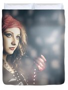 Female Fashion Model Holding Jewelry Necklace Duvet Cover