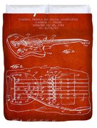 Fender Floating Tremolo Patent Drawing From 1961 - Red Duvet Cover