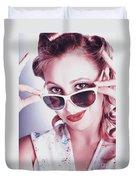 Fifties Glamor Girl Wearing Retro Pin-up Fashion Duvet Cover