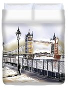Fine Art Drawing The Tower Bridge In London Uk Duvet Cover