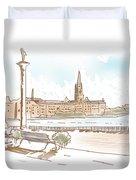 Fine Art Landscape Sketch Of Stockholm Sweden  Duvet Cover