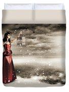 Fine Art Photo Of A Beautiful Winter Fashion Woman Duvet Cover