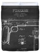 Firearm Patent Drawing From 1897 - Dark Duvet Cover by Aged Pixel