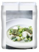 Fish Fillet With Herb Topping And Vegetables Duvet Cover
