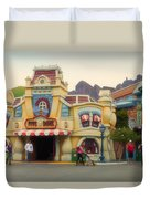 Five And Dime Disneyland Toontown Signage Duvet Cover