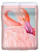 Female Flamingo In The Bahamas Duvet Cover