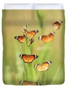 Flock Of Plain Tiger Danaus Chrysippus Duvet Cover by Alon Meir