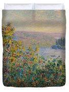 Flower Beds At Vetheuil Duvet Cover