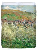 Flowering Plum Trees Duvet Cover