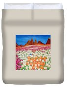 Flowers And Fields Alive With Thy Joy Duvet Cover