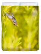 Fly Insect In Amongst A Flurry Of Yellow Leaves Duvet Cover