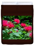 Flying Bee With Bee Balm Flowers Duvet Cover