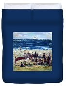 Flying A Kite At The Beach Duvet Cover