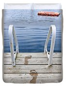 Footprints On Dock At Summer Lake Duvet Cover