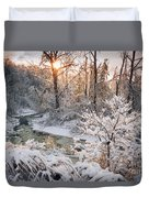 Forest Creek After Winter Storm Duvet Cover