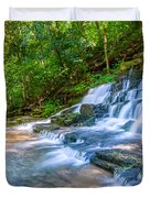 Forest Stream And Waterfall Duvet Cover