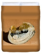 Fossil Clam With Calcite Crystals Duvet Cover