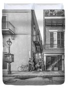French Quarter Trio - Paint Bw Duvet Cover