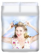 Friendly Female Pin-up Wearing Hair Accessories  Duvet Cover