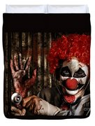 Frightening Clown Doctor Holding Amputated Hand  Duvet Cover