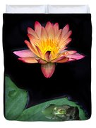 Frog And Waterlily Duvet Cover