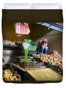 Fruit Stand Woman Duvet Cover